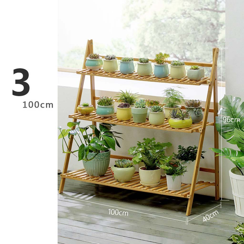 lo stile classico SMC Stand Stand Stand di fiori Flower Shelf Solid Wood Landing Indoor Fold Multi-layer Balcony Living Room Succulente Flower Pot Risparmio di spazio colore del legno (Dimensione   100cm)  vendita outlet online