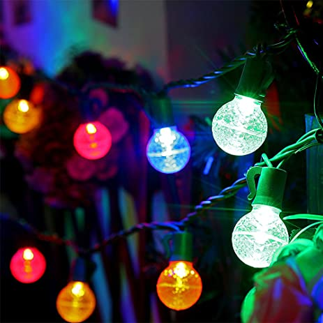 Led Globe Ball Light Strings With G30 Bulbs,13Ft 25 Outdoor Christmas Light  Colored,