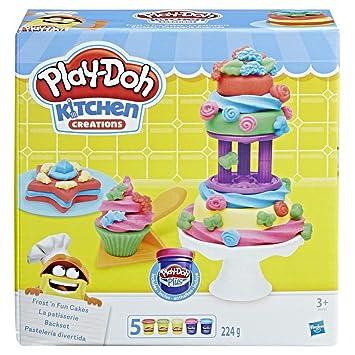 Play-Doh- Pastelería Divertida, Color Azul, Verde, púrpura, Rojo ...