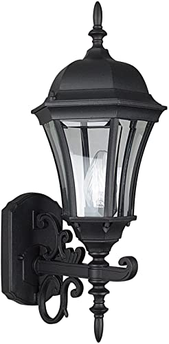 Sunset Lighting F7857-31 Outdoor Wall Sconce with Clear Beveled Glass, Black Finish