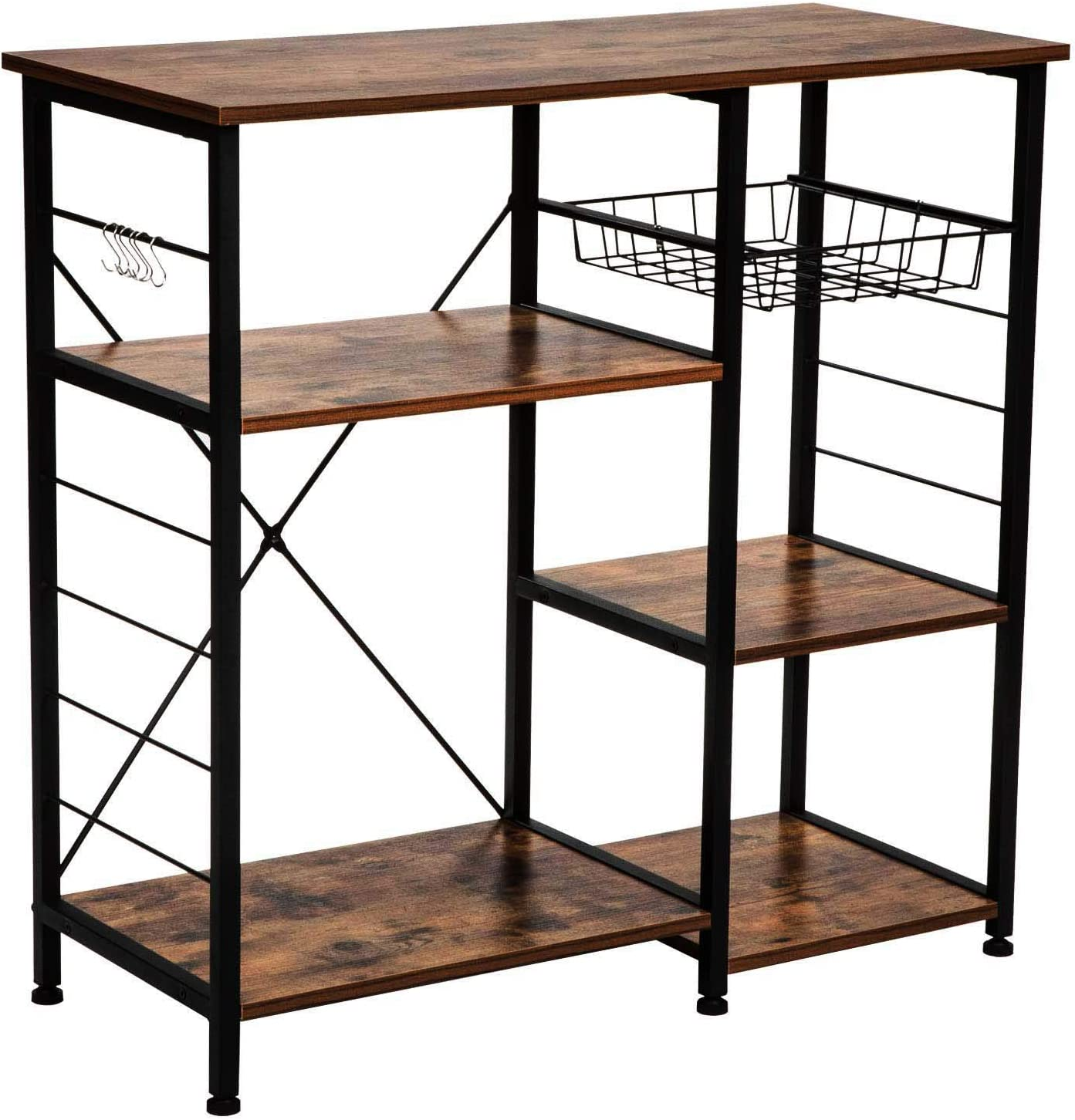 IRONCK Industrial Kitchen Baker s Rack, Kitchen Island Utility Storage Shelf, Microwave Stand with 6 Hooks, Metal Frame, Simple Assembly, Vintage Brown