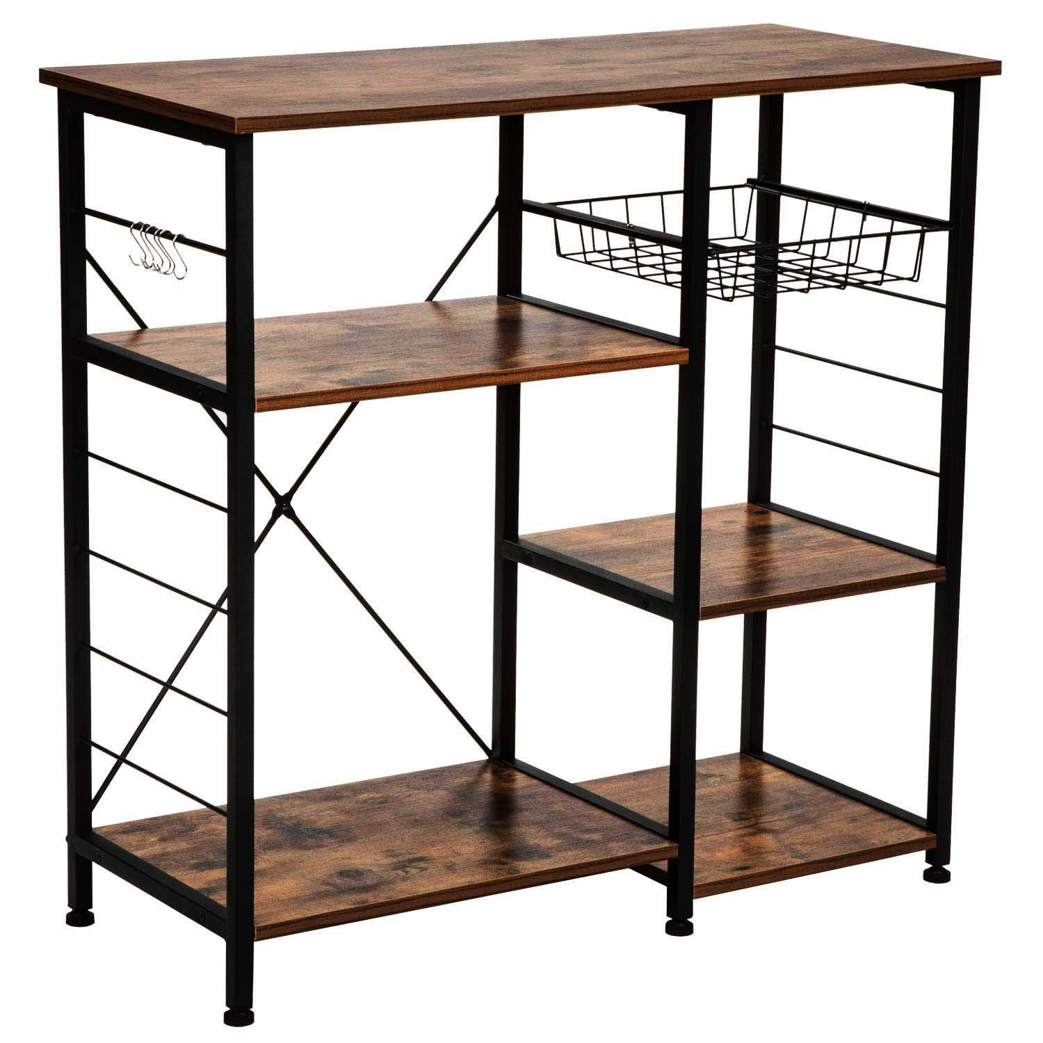 IRONCK Industrial Kitchen Baker's Rack, Kitchen Island Utility Storage Shelf, Microwave Stand with 6 Hooks, Metal Frame, Simple Assembly, Vintage Brown by IRONCK