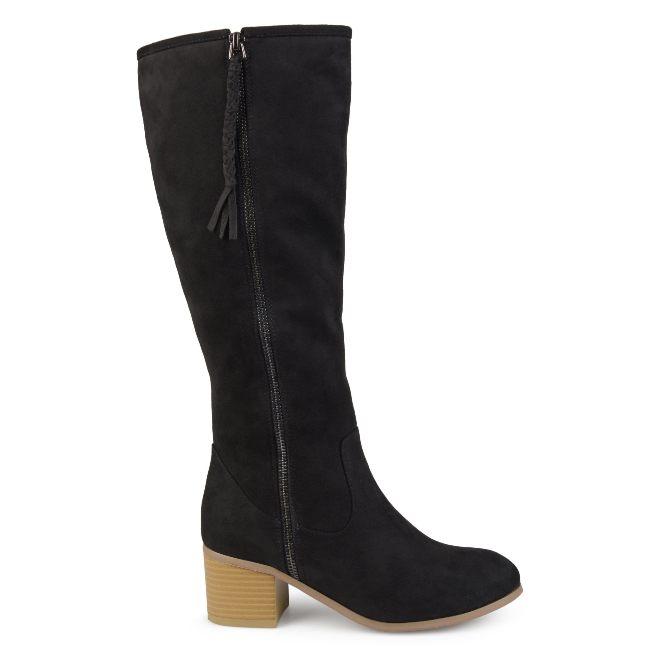 Brinley Co Womens Regular and Wide Calf Faux Suede Mid-Calf Stacked Wood Heel Boots Black, 10.5 Wide Calf US