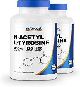 Nutricost N-Acetyl L-Tyrosine (NALT) 350mg, 120 Capsules (2 Bottles) - Gluten Free, Non-GMO