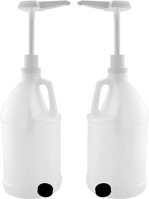 Mitad galón 2 jarras de plástico w/bombas (lote de 2); 64-ounce/2 ...