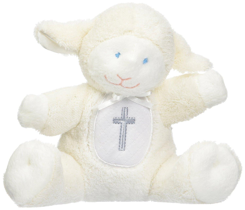 Mary Meyer Christening Plush Rattle Lamb With Crib Cross Christening or Baptism Gift (Pink) by Custom Bundle (Image #2)