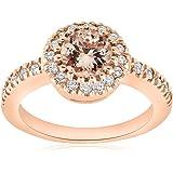 1ct Pave Diamond Morganite Halo Engagement Ring 14k Rose Gold