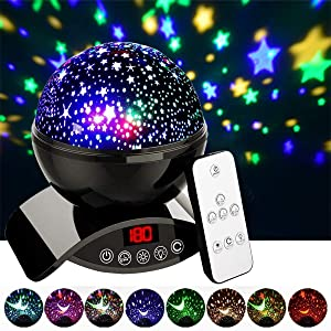Aisuo Night Light, Rechargeable Starry Lighting Lamp with Timer Design, Remote Control & Rotating, Color Changing, Room Decor. (Black)