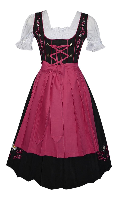 Amazon Edelweiss Creek 3 Piece Long German Oktoberfest Dirndl Dress Black And Pink Clothing