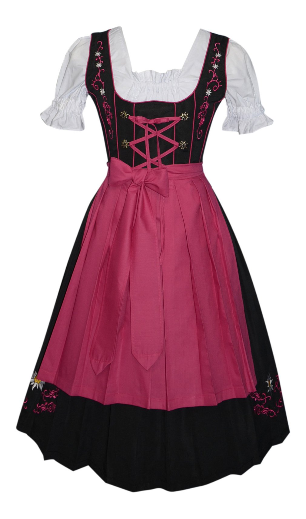 3-Piece Long German Party Oktoberfest Dirndl Dress Black & Pink (14) by Edelweiss Creek (Image #1)