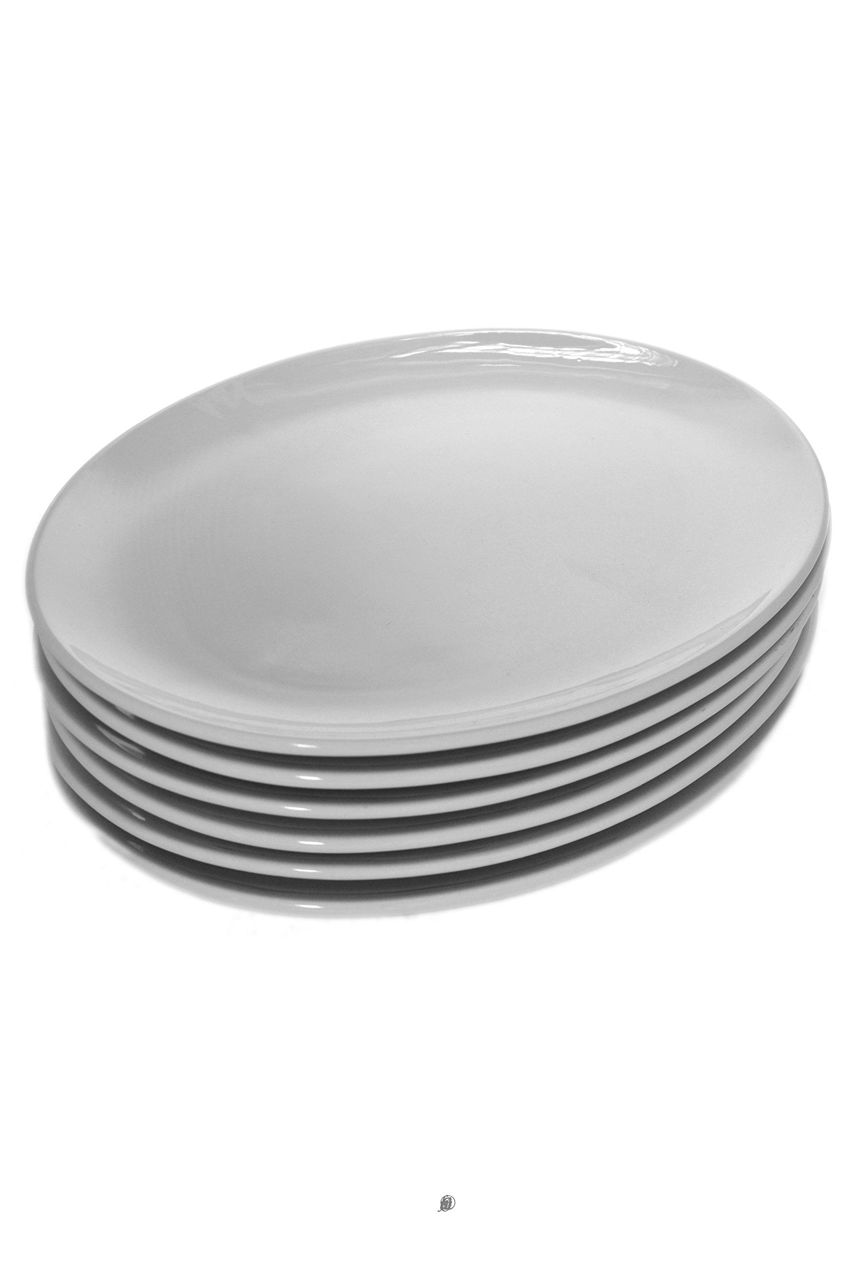 Set of 12 Oval White Porcelain Sushi Appetizer Plates