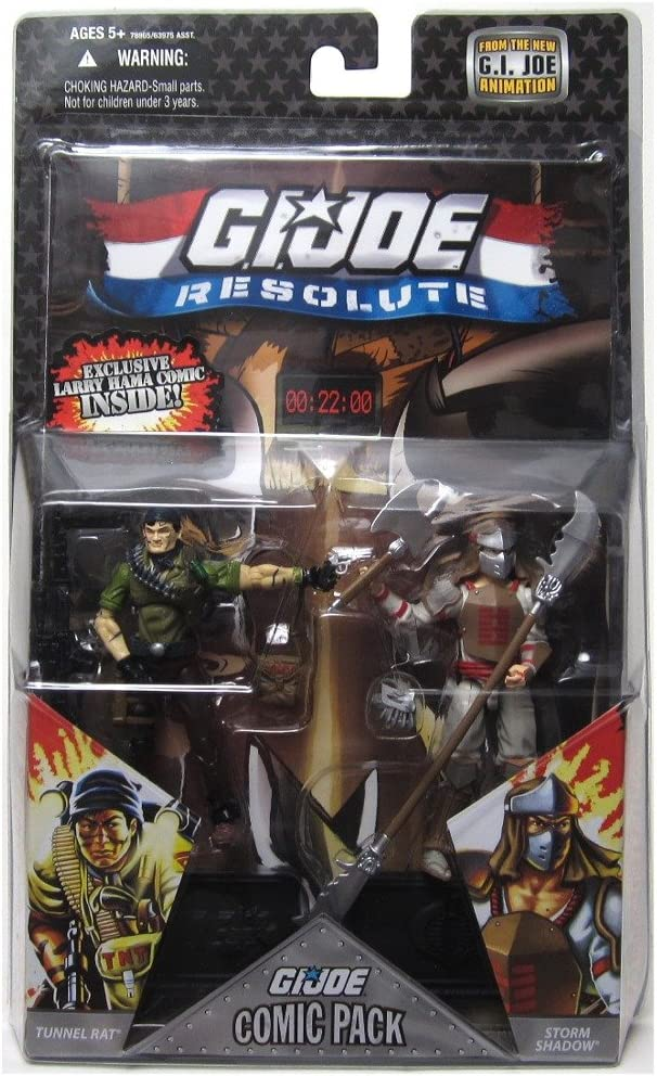G.I. JOE Hasbro 25th Anniversary 3 3/4 Wave 8 Action Figures Comic Book 2Pack Tunnel Rat vs. Storm Shadow