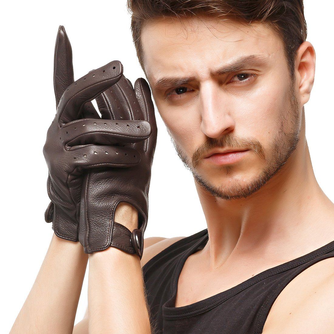 Nappaglo Herren Hirschleder Touchscreen Handschuhe Lederhandschuhe für fahren Motorrad Radfahren Ungefüttert Handschuhe DCH021