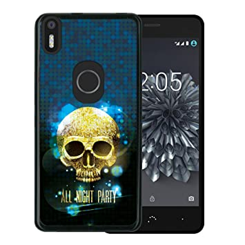 WoowCase Funda Bq Aquaris X5 Plus, [Bq Aquaris X5 Plus ] Funda Silicona Gel Flexible Calavera Brillante, Carcasa Case TPU Silicona - Negro