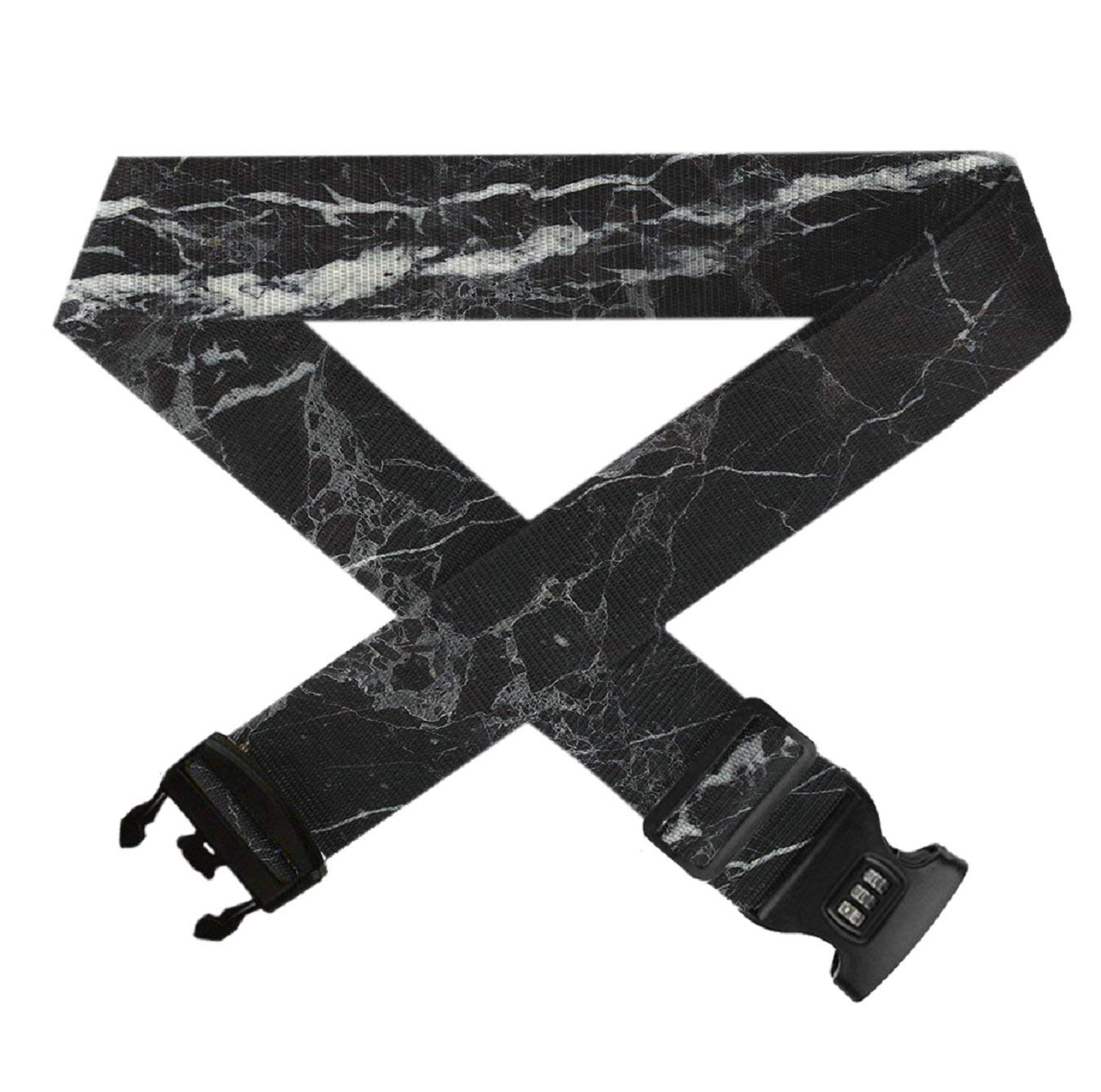 White Black Marble Texture,Heavy Duty Bag Straps 3 Dial Approved Lock for Extra Luggage//Travel//Business GLORY ART Suitcase Belt Straps 1 Pack