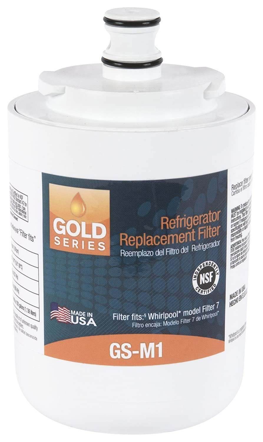 Gold Series GS-M1 Refrigerator Water Replacement Filter, Fits Maytag UKF7003, Whirlpool EDR7D1 FILTER 7