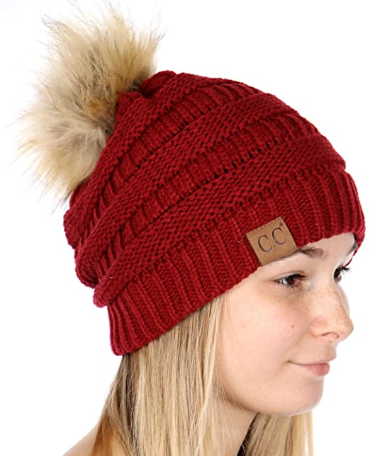 02c0994f547 Image Unavailable. Image not available for. Color  C.C Unisex Solid Ribbed Beanie  Hat With Fur Pom Pom Red