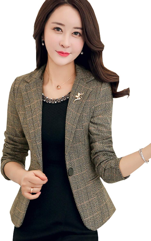 New Women/'s Formal Blazer Short Coats Jacket OL Long Sleeve Tops Work Outwear US