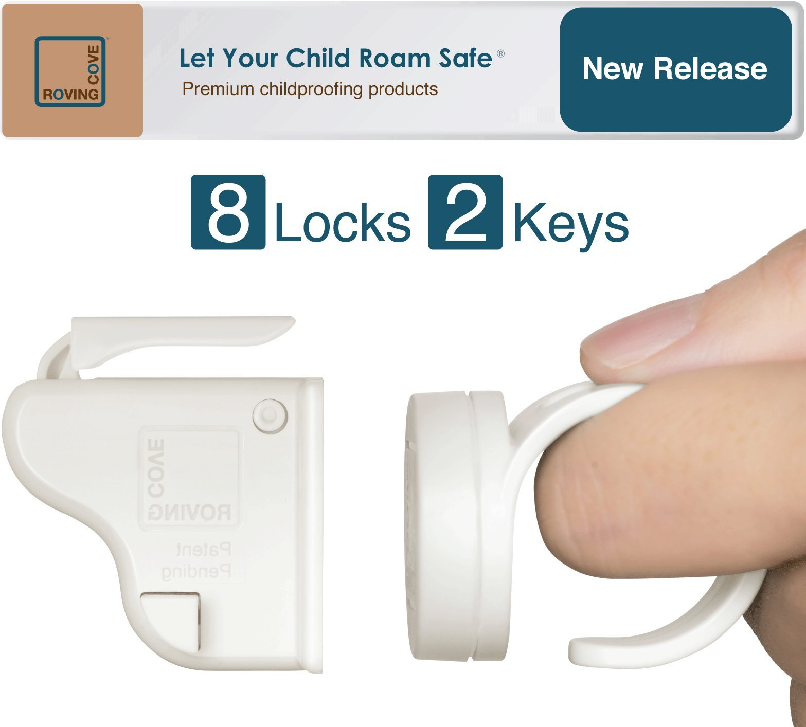 Roving Cove | Magnetic Cabinet Locks Child Safety | Safe Lock | Baby Proofing, Child Proof | No Drilling, No Tools, Drawer | 8 Locks + 2 Ring Keys | Ivory (White)