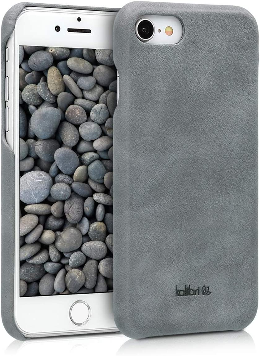 kalibri Case Compatible with Apple iPhone 7/8 / SE (2020) - Smooth Genuine Leather Hard Case Anti Slip Back Cover - Dark Grey
