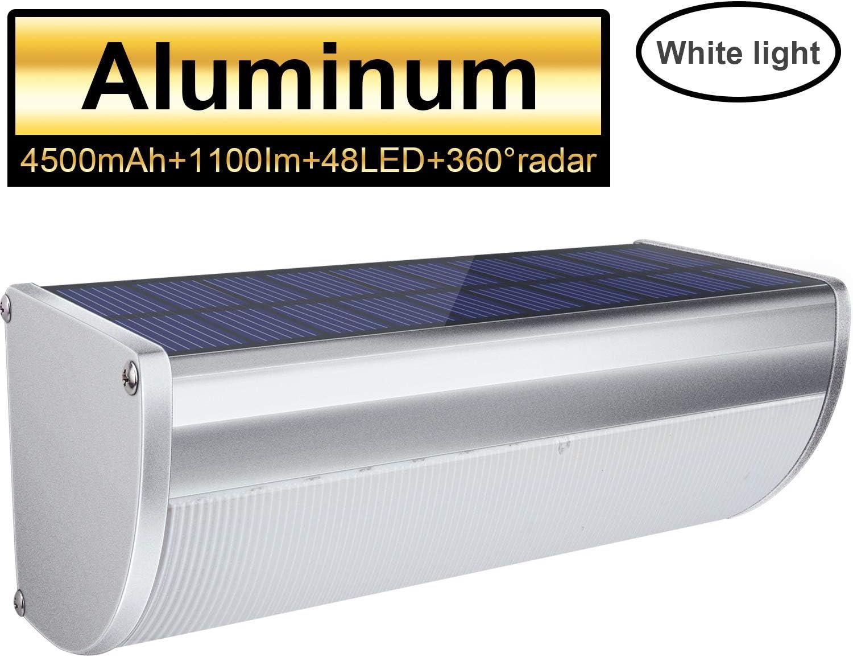 Licwshi Luz Solar Exterior 48 LED de Aleación de Aluminio Focos LED Solares con Sensor de Movimiento Impermeable Inalámbrico Lámpara Solar 4 Modos Inteligentes para Jardín, Garaje, Blanco Frío