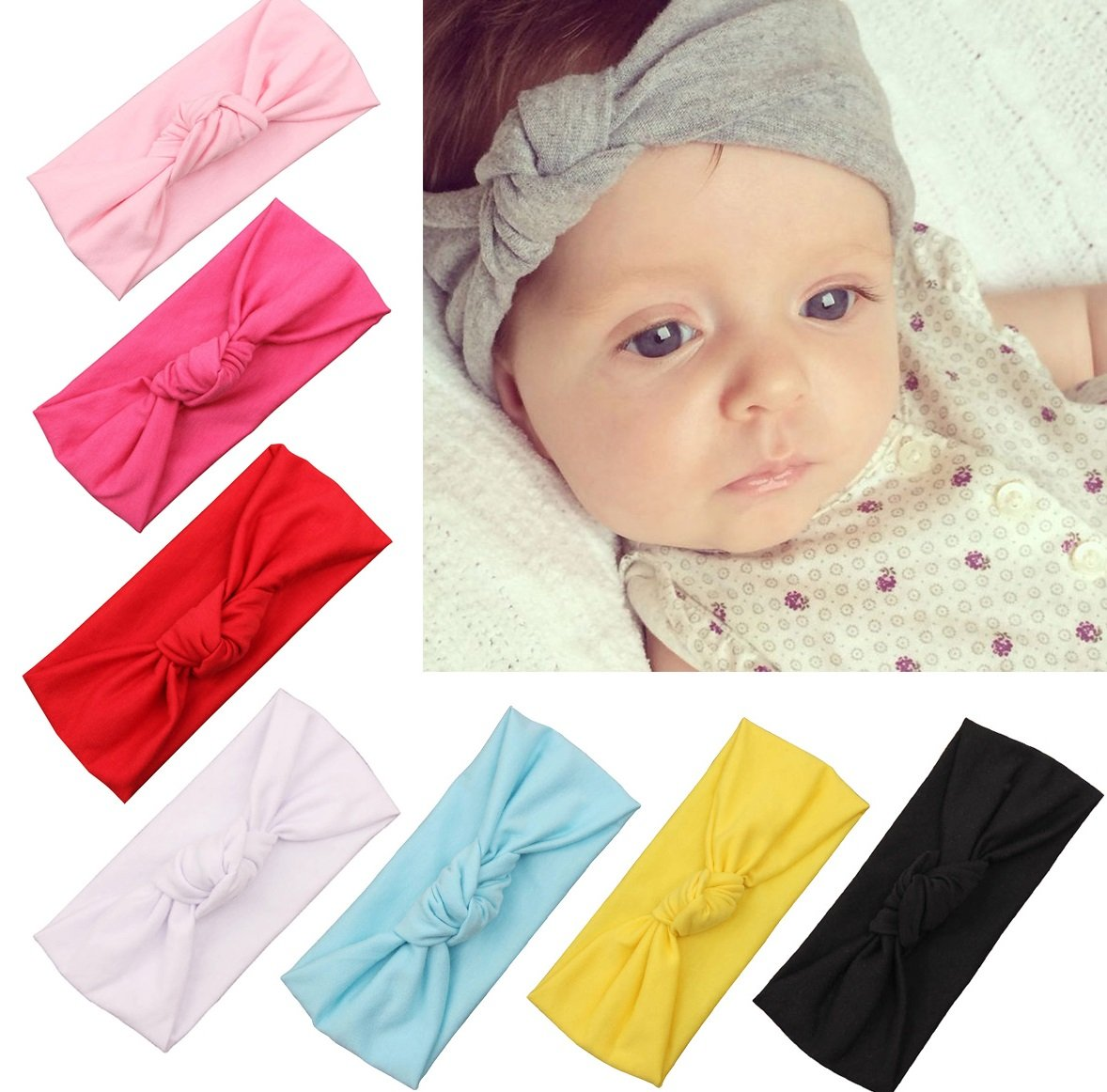 Naisidier Baby Girl Headbands Newborn Toddlers Headwear, Cute Head Wrap with Hair Bow Cute Bunny Ears Hair Bow zq-13332_201-31-1531384