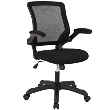 modway veer office chair with mesh back and black vinyl seat with flipup arms - Ergonomic Desk Chair