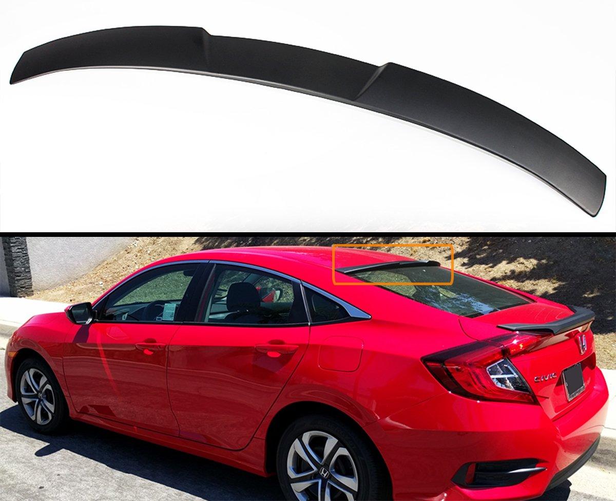 For 2016-2018 Honda Civic 4DR Sedan Rear Window Roof Spoiler Wing Visor Glossy