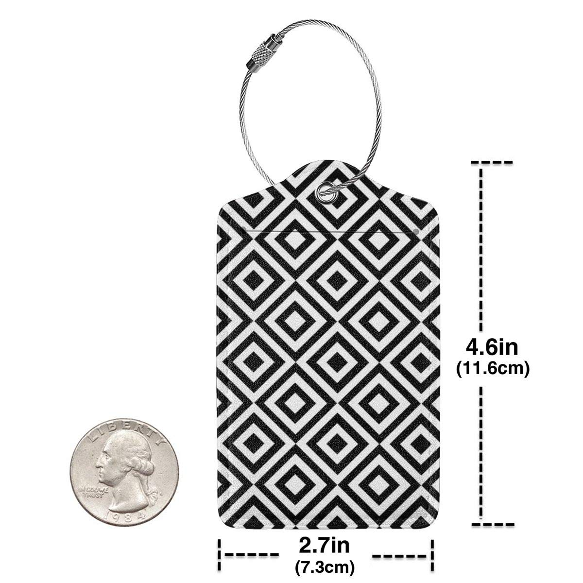 GoldK Geometric Black and White Squares Leather Luggage Tags Baggage Bag Instrument Tag Travel Labels Accessories with Privacy Cover