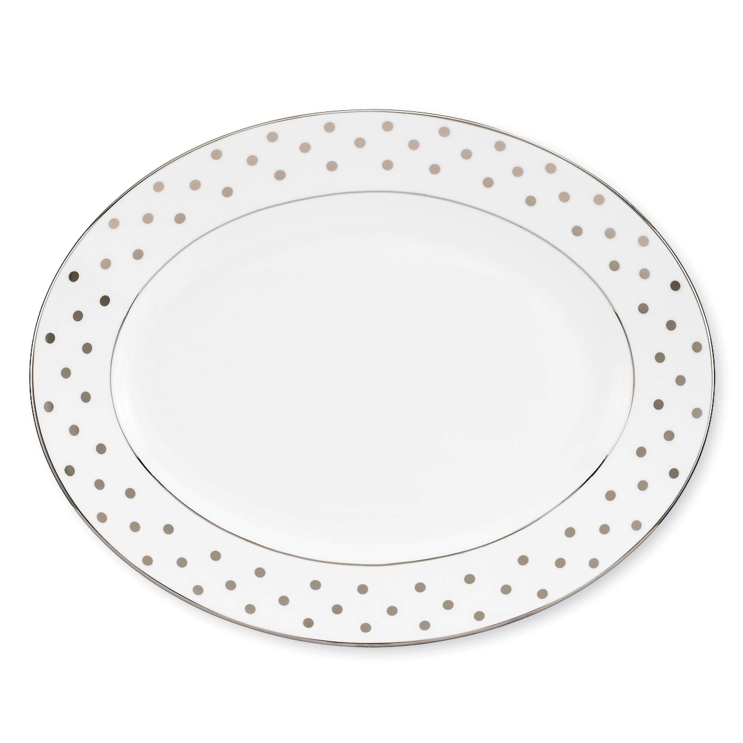 Kate Spade New York 815500 Larabee Road Platinum 13'' Oval Platter, White
