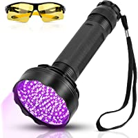 YOUTHINK Linterna UV, 100 LED UV Linterna con Gafas de Protección UV, 395 NM, 100 Linterna LED Mejorada, Lámpara…