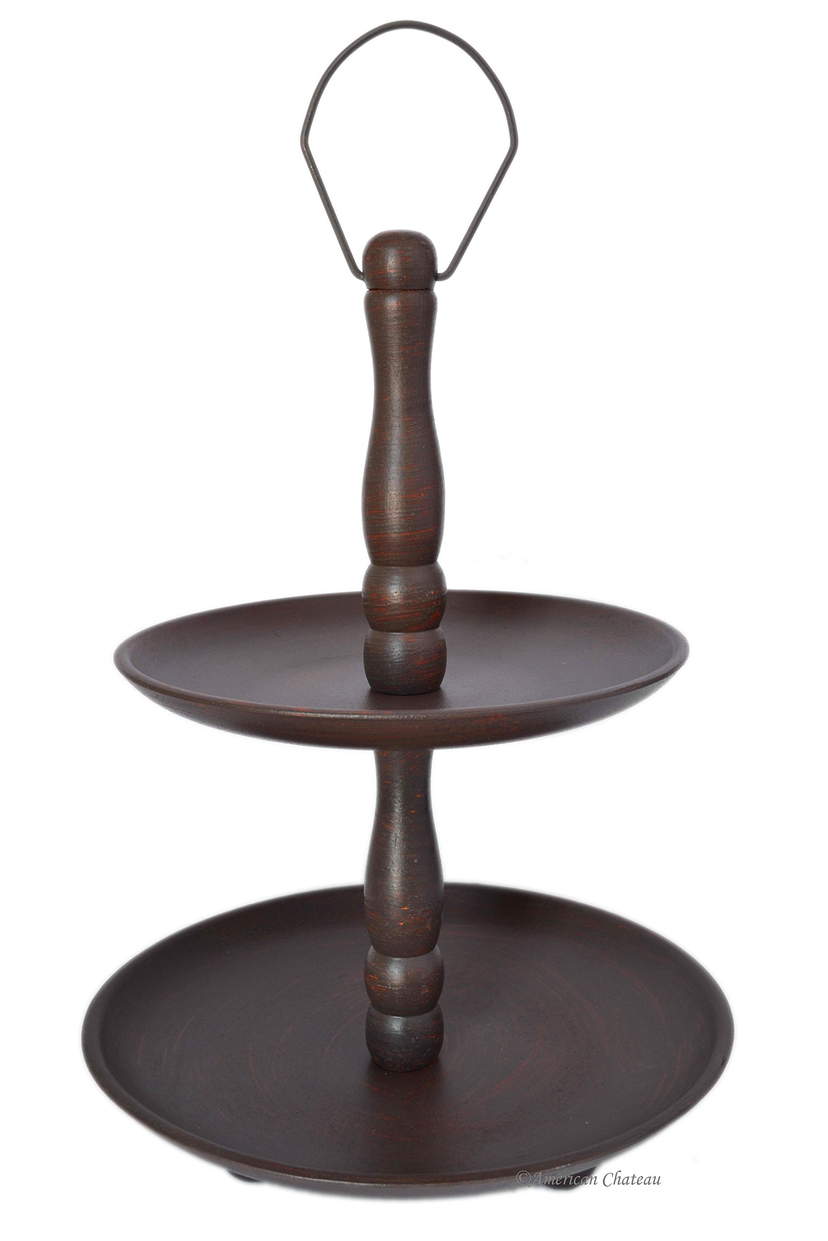 Large 17'' Wood 2-Tier Rustic Pastry/Dessert Platter Stand Server