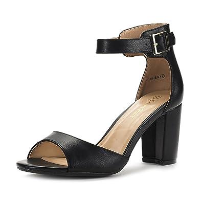 ede612a1040c DREAM PAIRS Women s HHER Black Pu Low Heel Pump Sandals - 5 ...