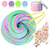 Fluffy Slime, Jumbo Fluffy Floam Slime Stress Relief Toy Scented Sludge Toy, Mix Color 7 Ounce with 3 Slime Tools and foam Balls