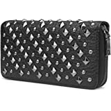 OURBAG Cool Fashion Women Punk Style Spike Handbag Rivet Studded Long Wallet Phone Bag