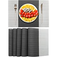 EXCO Placemats, Heat-Resistant Placemats Stain Resistant Anti-Skid Washable PVC Table Mats Woven Vinyl Placemats, Set of…