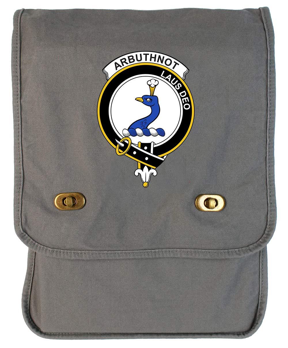 Tenacitee Scottish Clan Crest Badge Arbuthnot Khaki Green Raw Edge Canvas Messenger Bag