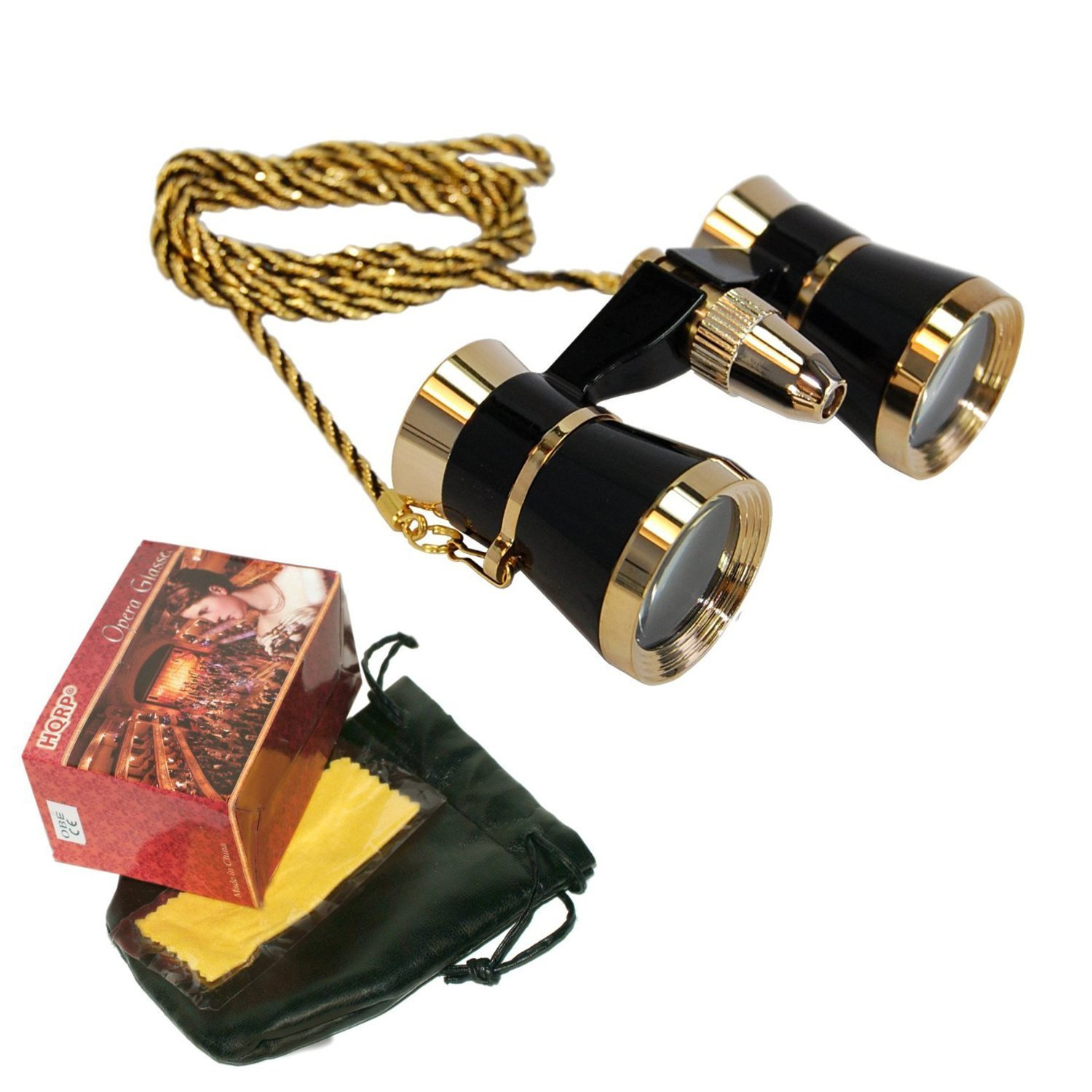 HQRP 3 x 25 Black Opera Glasses / Binocular with Red Reading Light, with Golden Trim / Golden Necklace