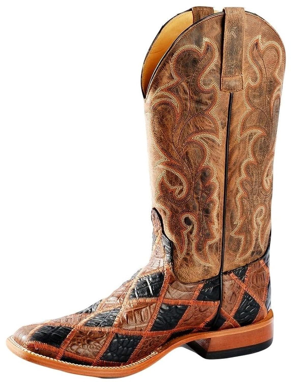 Horse Power Western Boot Mens Croc Patchwork Bone Mad Dog Brown HP1755