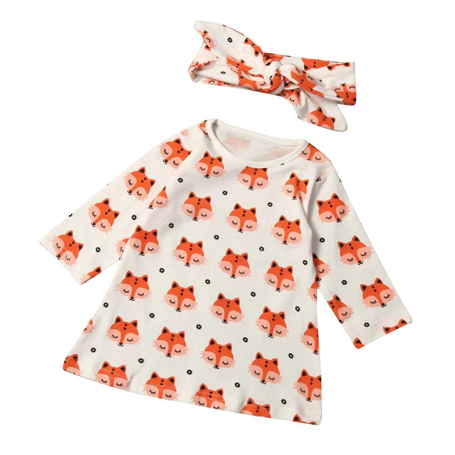 BZLine® Baby Dress, Lovely Occident Newborn Infant Baby Boys Girls Fox Print Blouse + Headband Outfits Clothes Set for Ages in Children BZL_01