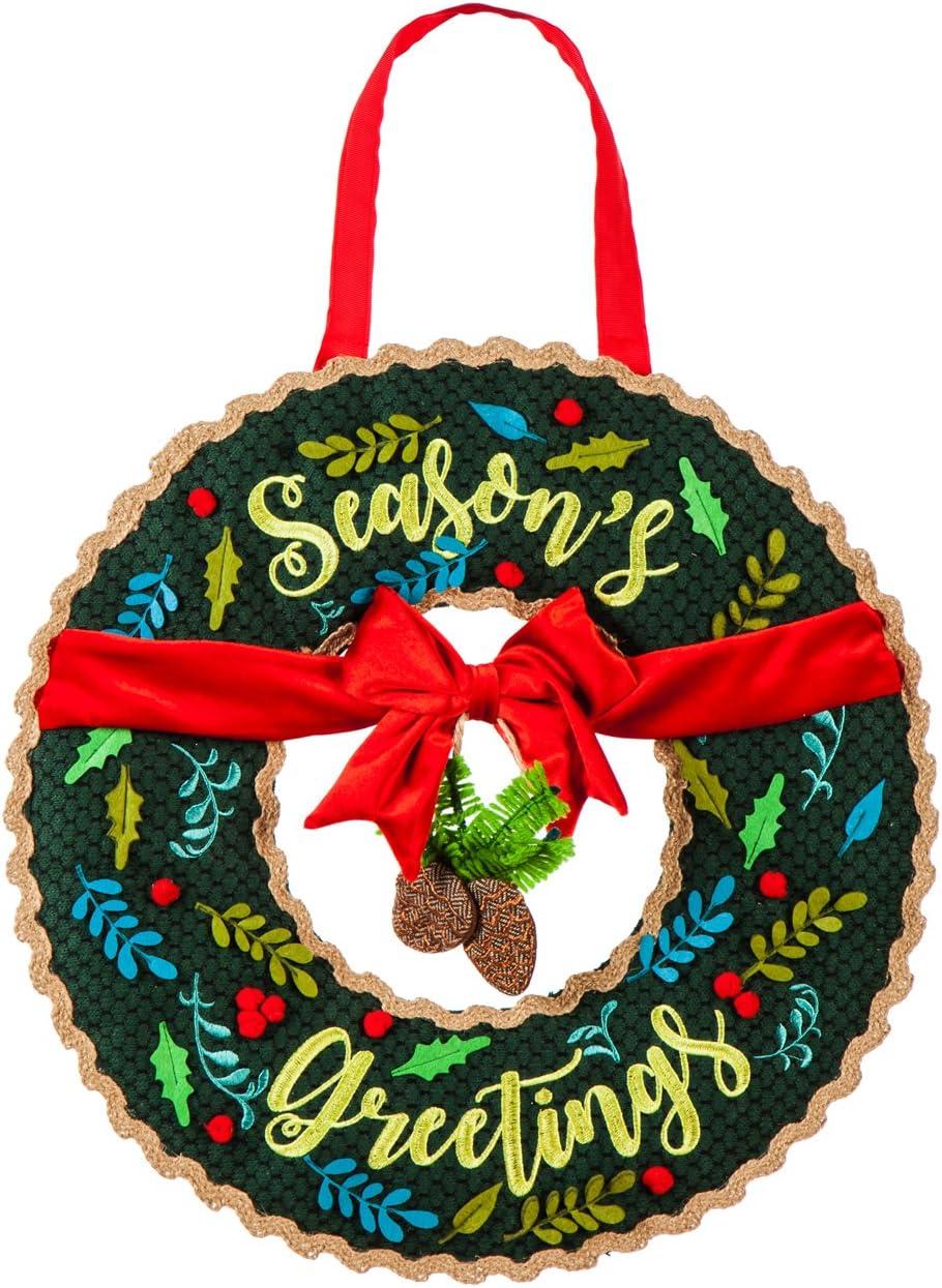 Evergreen Flag Season's Greetings Wreath Outdoor Safe Door Hanger
