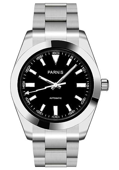 PARNIS 2142 automático de hombre reloj Cristal de zafiro Acero inoxidable Ø40 mm 5bar Miyota de marca Reloj de pulsera de acero inoxidable: Amazon.es: ...