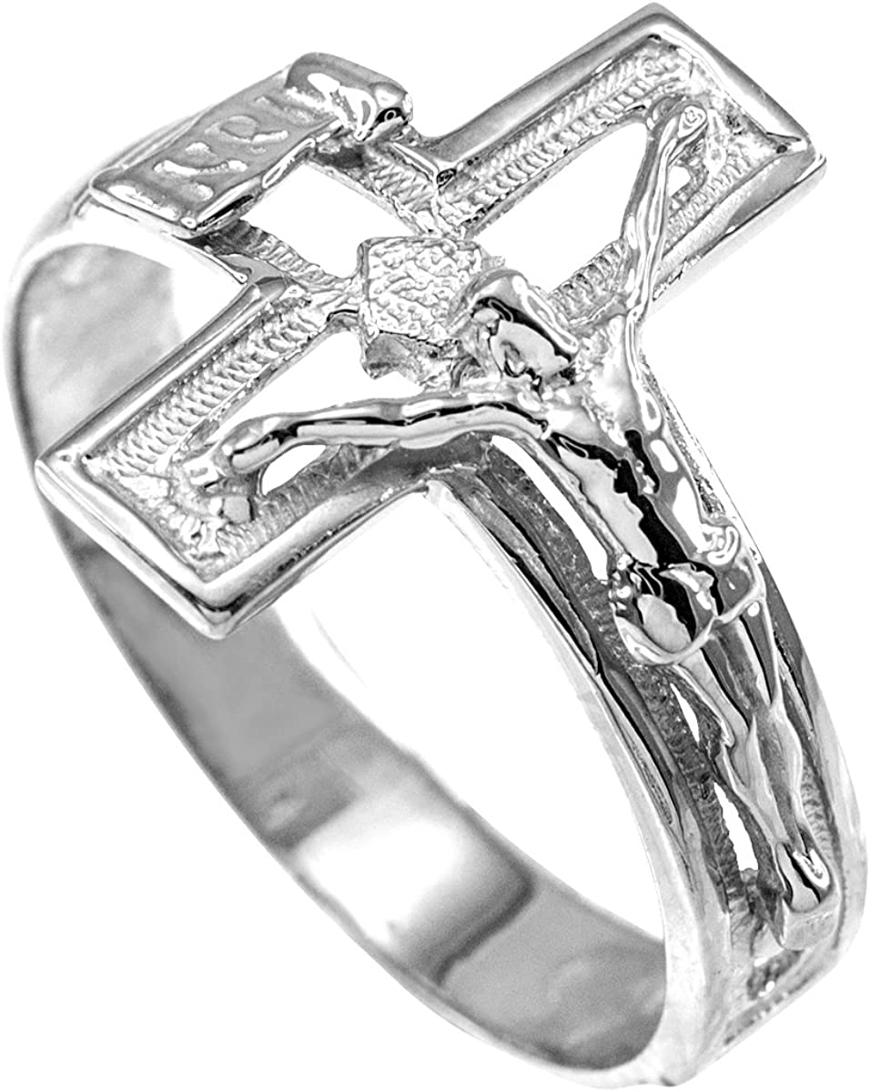 Religious Jewelry by FDJ Solid 925 Sterling Silver Open Design Cross Band Crucifix Ring