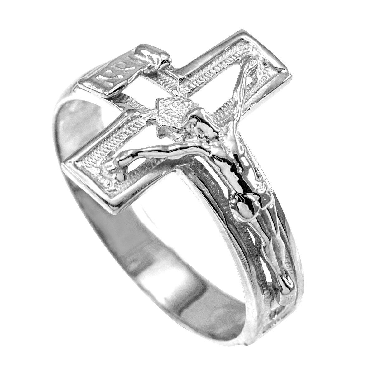 Fine 14k White Gold Open Design Cross Band Crucifix Ring (Size 7)