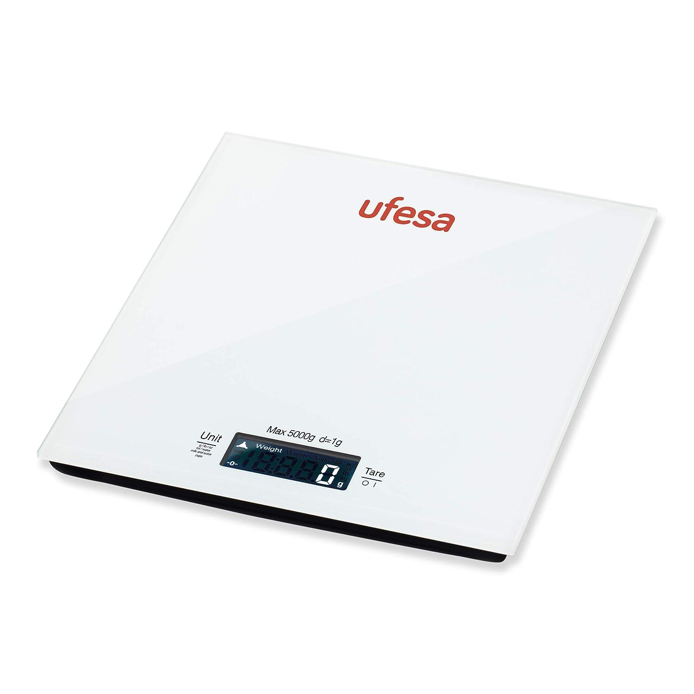 Ufesa BC1100 Báscula de cocina, Blanco/negro