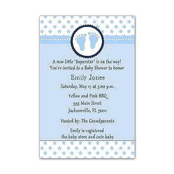 Invitaciones para baby shower con 30 huellas de estrellas, color azul + sobres: Amazon.es: Hogar