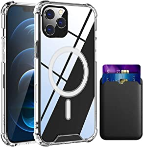 Magnetic Case for iPhone12/12Pro Wireless Charge, Magsafe Leather Wallet Card Holder and Shockproof Thin Crystal Clear Anti-Yellow Protective Case for iPhone12/12Pro 6.1 Inch