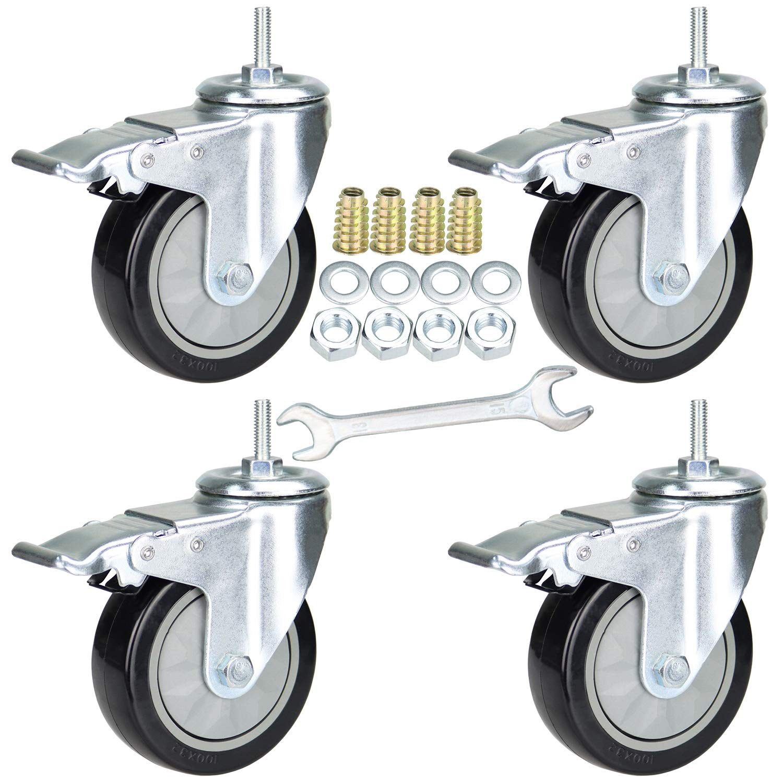 "YEEMIGO 4 Inch Threaded Stem Mount Industrial Casters Unified National Coarse 5/16""-18x1"" Locking Metal Swivel Wheel Castors for Carts, Furniture, Dolly, Workbench, Trolley"