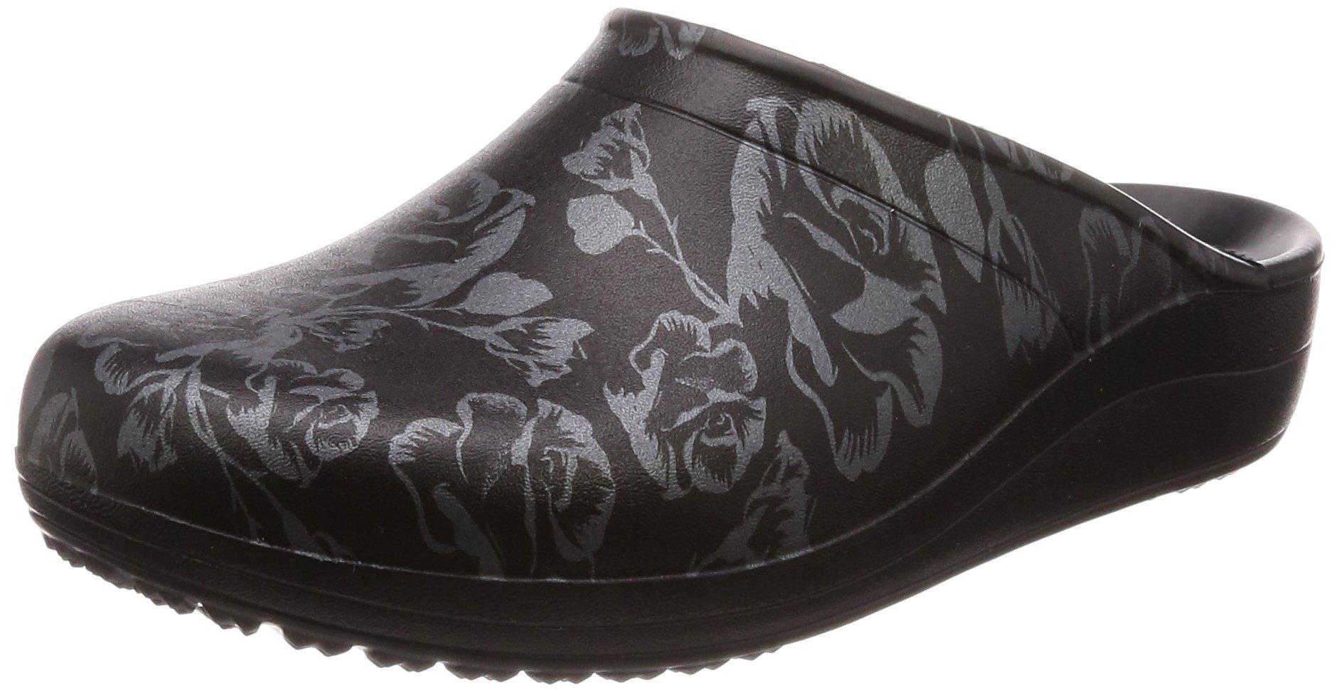 Crocs Women's Sloane Graphic Clog W Shoe, Metallic Rose/Black, W9 M US