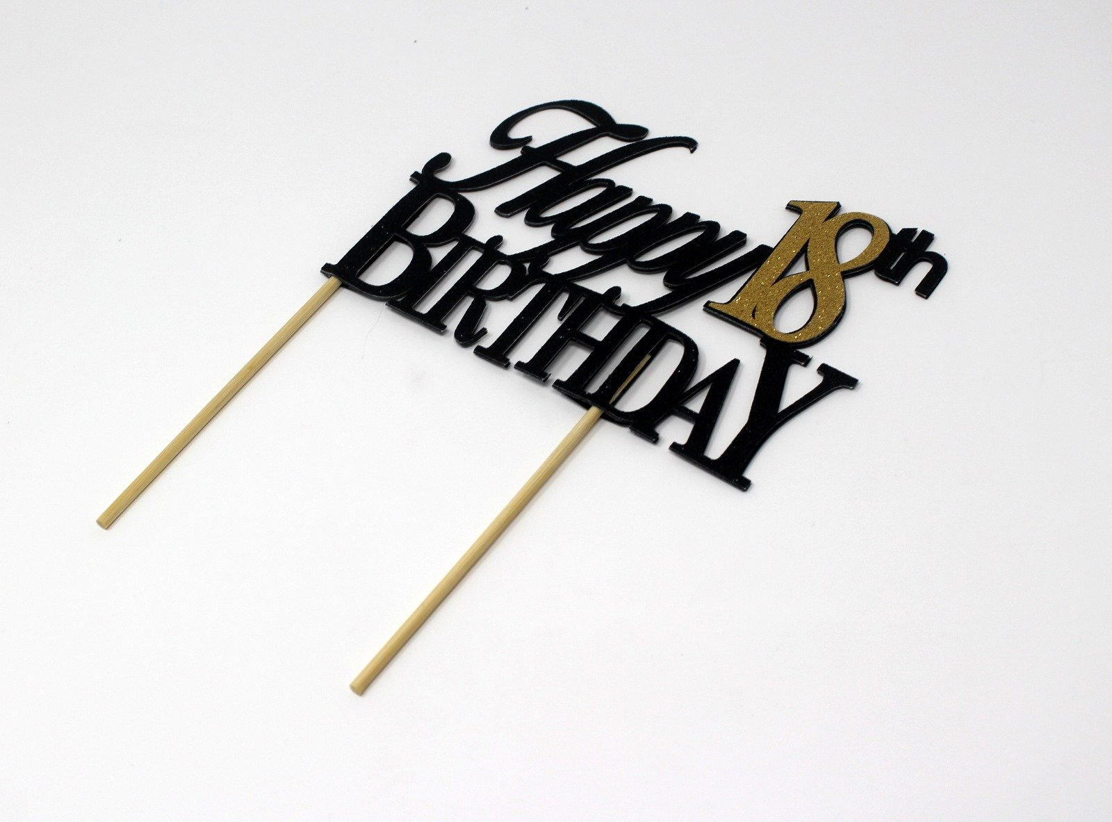 All About Details CATH18BBGO Happy, 1pc, 18th Birthday, Cake, Party Decor, Glitter Topper (Black & Gold), 4in Tall (Plus 2pcs of 4-in Wood skewers) & 6-in Wide by All About Details (Image #3)